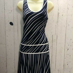 Joseph Ribkoff Blue/Black & White Striped Dress